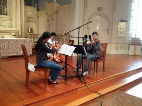 Recording Rebecca Jackson, Jonah Kim, and Matt Young